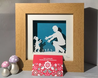 Daddy and me Framed Papercut
