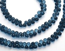 London Blue Topaz Color Hydro Quartz Facet 8MM Approx. Onion Shape Briolettes Beads 9 Inch Full Strand Deep Blue Color Super Fine Quality
