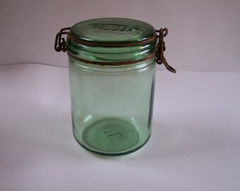 Green glass jar Solidex vintage engraved 34 US fl oz Made in France