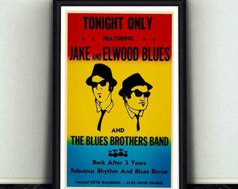Blues poster etsy blues brothers movie prop concert poster malvernweather Image collections