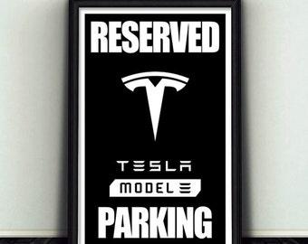 11x17 Reserved Telsa Model 3 Parking Sign Print