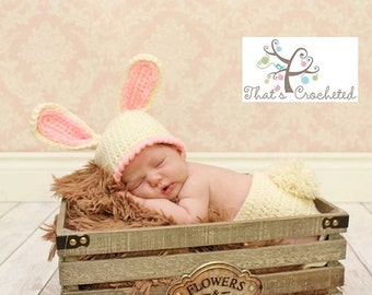 Newborn chunky bunny hat and diaper cover, Newborn photography prop, newborn boy, newborn girl, crochet hat and diaper cover
