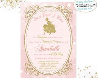 Girls Princess Invitation Girls Cinderella Invitation Girls Royal Princess Birthday Invitation Cinderella Party Royal Princess Party