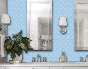 Scallop Pattern Wallpaper in Peri Blue  Removable Vinyl Wallpaper - Peel & Stick - No Glue, No Mess