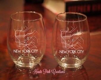 NYC Wine Glass, NYC Subway, NYC Subway Etched Glass, New York City Subway Wine Glass, New York City Subway, New York City Gift, Set of 2