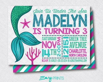 Mermaid Birthday Invitation / Under the Sea Invitation / Mermaid Invitation / Mermaid Under the Sea Invitation