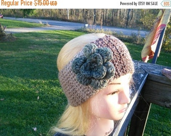 Child-Adult Ready to Ship Handmade Crochet Pink Parfait Headband/Earwarmer with Flower Variated Wool
