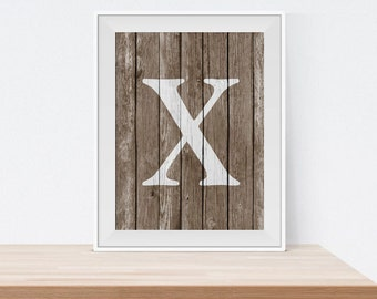 X Monogram Letter Print - Rustic Letter Print - Home Decor - Monogram Art - Printable Wall Art - Wall Decor - Letter Print - Gift Idea