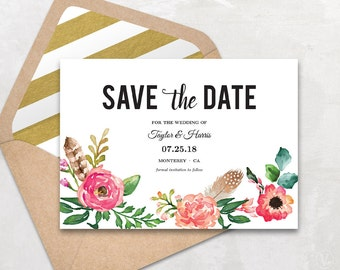 Printable Save the Date Card, Save the Date Template, Peony Flower Floral Save the Date, Instant Download - EDITABLE Text, STD0010, VW14