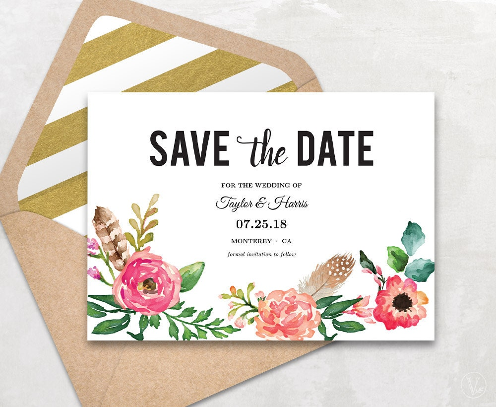 printable save the date card save the date template peony. Black Bedroom Furniture Sets. Home Design Ideas