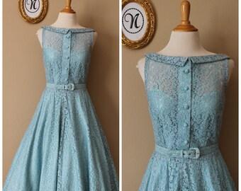 Vintage 1940s ~ 50s Green Lace Swing Dress