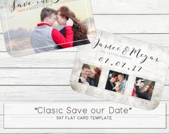 "5x7 ""Vintage Save our Date"" Photo Template for Photographers"