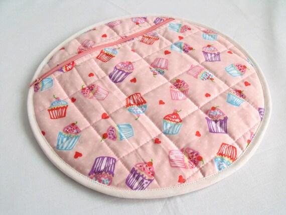 pink nightwear bag, girls pyjama case, nighty storage pouch, lingerie bag, bed wear tidy, pink cup cake cotton fabric