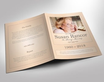 Classic Funeral Program Photoshop Template 5.5x8.5 (8 pages)