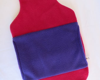 Hot Water Bottle Cover in pink/cerise polar fleece with blue hand warmer