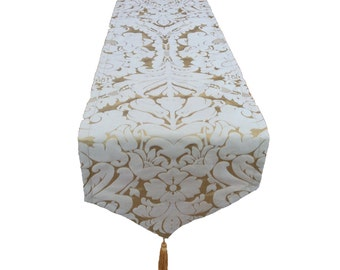 Stunning Gold Christmas wedding bed table runners sofa throws in classic damask design faux silk Rayon home kitchen dining room