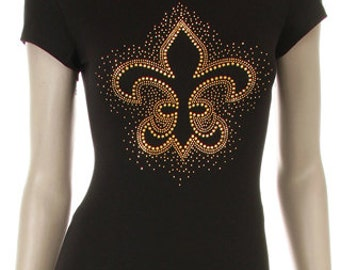 Gold Fleur de Lis Stud Iron on Shirt