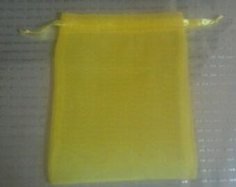 100 Yellow Organza Bags 5x 7 favor bags wedding packaging beads, herbs