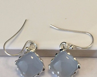 Natural Aqua Chalcedony 925 Solid Sterling Silver Dangle Earrings 27mm