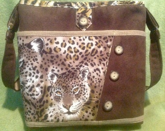 Leopard Print Purse, Large Handbag,  Multiple Pockets, Shoulder Strap, Top Zipper Closure,Homemade Fabric Purse, Made in USA