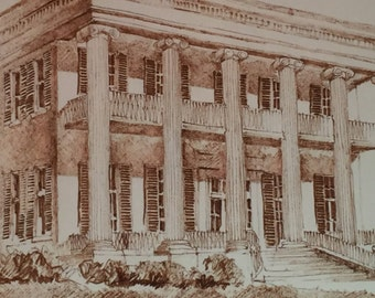 Vintage Ink Line Drawing of Texas Governors Mansion by Tony Crosby 1978