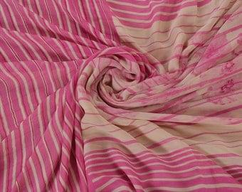 KK Printed Pure Georgette Silk Saree Pink Dress Making Sari Craft Fabric