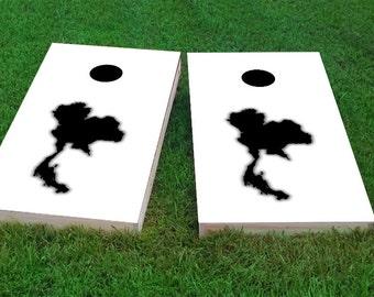 White Thailand Themed Light Weight (1x4) Regulation Size Custom Cornhole Board Game Set - Corn Hole - Bag Toss