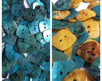 25pcs Shell Buttons - Choice of Blue or Blue/Gold - 12mm Sewing 2 Hole Buttons - B45017