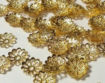 50pcs Gold Bead Caps -  - 9mm - Jewelry Findings - Craft Supplies