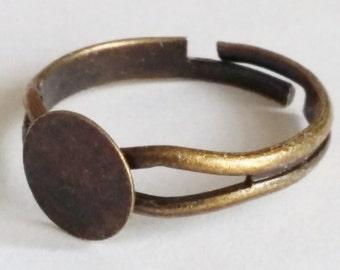 5pcs Antique Bronze Ring Base - Adjustable Ring Mount - Fits 10mm Cabochon Setting - Ring Making - Ring Blanks - B17268