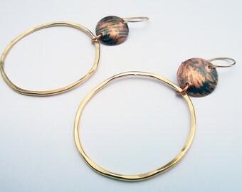 Large Brass Hoops/ Hammered Gold Hoops/ Gold Hoops/ Hammered Hoop Earrings/ Bohemian Hoops/ Big Brass Hoops/ Boho Chic/ Mixed Metal Hoops