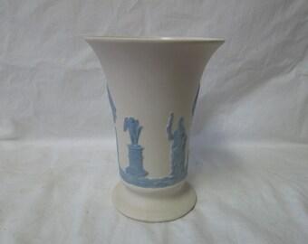 Vintage Jasperware Vase Ivory with blue Unmarked