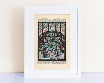 Alice in Wonderland by Lewis Carroll Print on an antique page, Nursery Print