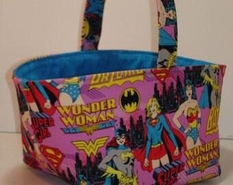 SuperGirl Easter Basket - Super hero Girls Easter Basket - Wonder Women Easter Basket - Bat Girl Fabric Basket