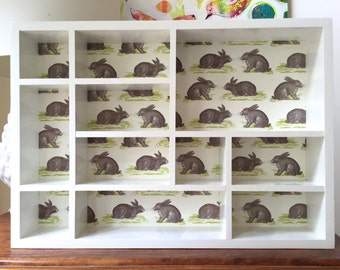 Shadow Box - Rabbit Shadow Box, Shadow Box, Wall Display, Wall Box, Display Box, Shadow Box Shelf, Wall Shelf, Wooden Shadow Box, Display
