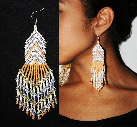 Native American Beaded Earrings, Huichol Earrings, Beaded Chandelier Earrings, Mexican Beaded Jewelry, Tribal High Fashion Jewelry