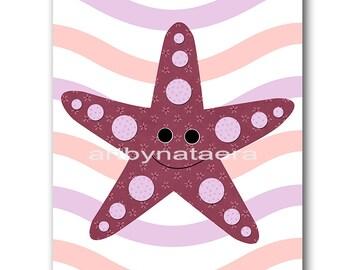 Sea Nursery Print Starfish Nursery Decor Starfish Wall Art Baby Girl Nursery Art Print Playroom Print INSTANT DOWNLOAD Art 8X10 Pink Purple