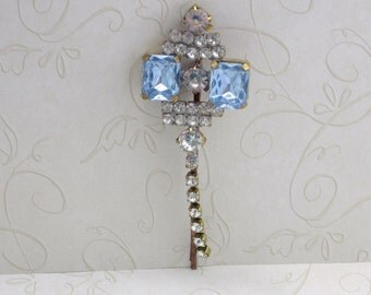 Blue Rhinestone Vintage Hair Clip A Great Gift for Her, Colored Hair Barrette, Vintage Bobby Pin, Vintage Hair Clip