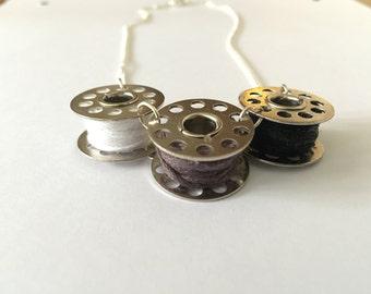 Black and white bobbin necklace