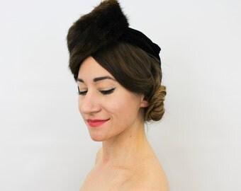 40s Black Velvet Mink Fascinator | Brown Mink & Silk Velvet Fascinator | New York Creations