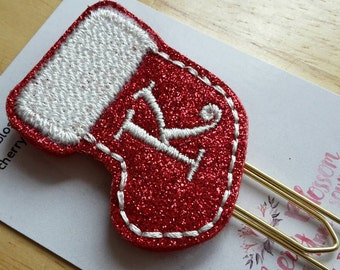 Stocking Initial Christmas Paper Clip