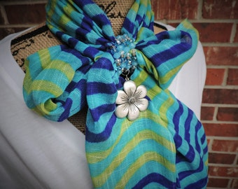 Silver and blue flower scarf wrap