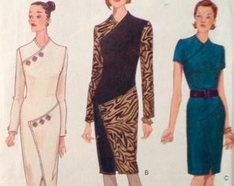 Vogue 9743 - Spiral Wrap Look Dress with Button Trim Option - Size 8 10 12