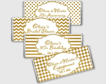 Gold Design Regular Chocolate Bar Wrapper, Customized Candy Label - Gold & White Geometric Design - Printable PDF, DIY Print - #GDS