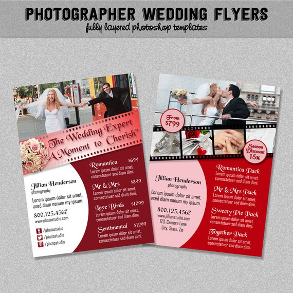 mariage photographe flyers rose et rouge liste des prix. Black Bedroom Furniture Sets. Home Design Ideas