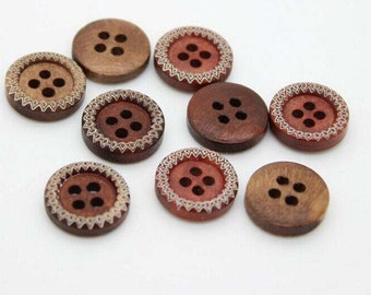15 pcs Vintage Round Wood Buttons with Engraved pattern Four Holes Shirt Buttons ,13mm(0.51inch),M4