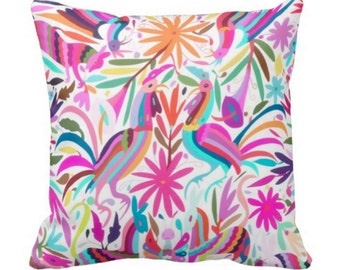 """Colorful Otomi Throw Pillow Cover, Pink/Orchid & Aqua Boho/Ethnic Mexican Animal Nature Print 16 or 20"""" Pillows or Covers"""