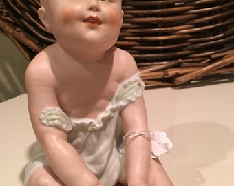 1882-1920 Gebruder Heubach Bisque  Porcelain Piano Baby Marked.