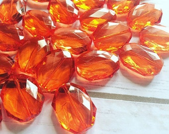 31x24mm RED-ORANGE Faceted Slab Nugget Beads, Beads for Bangle Making or Jewelry Making, transparent beads, chunky beads, statement beads