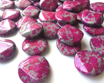 Freckled PINK Beads - Circular  26x26mm Large faceted acrylic nugget beads for bangle or jewelry making